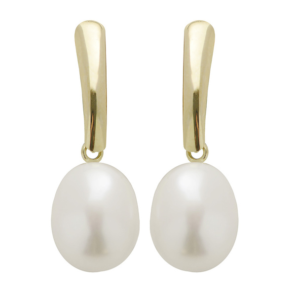 Pearls For You 10k Yellow Gold White Freshwater Pearl Dangle Earrings (8-9 mm)