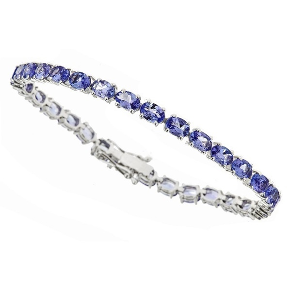 Anika and August .925 Sterling Silver Tanzanite Gemstone Tennis Bracelet