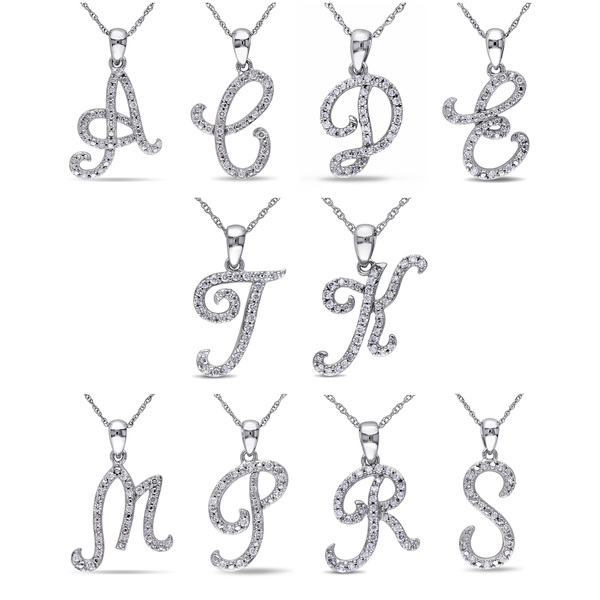 Miadora 10k White Gold 1/6ct TDW Diamond Initial Necklace (G-H, I1-I2)