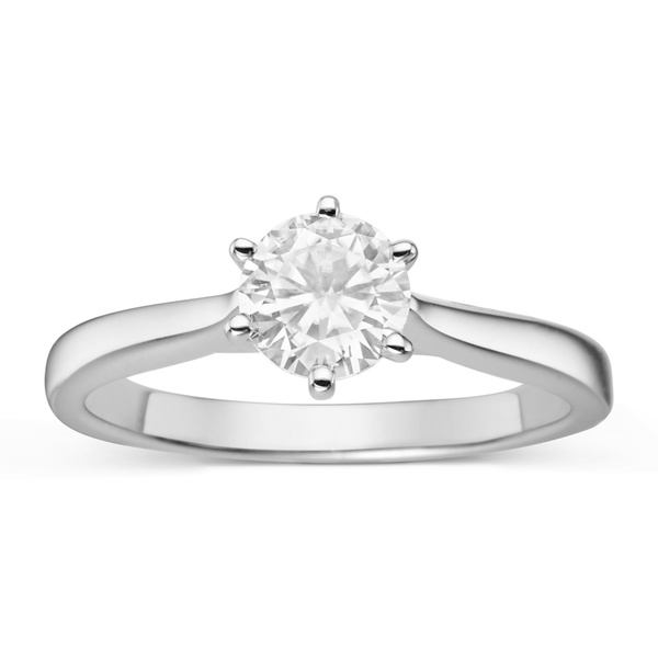 Charles & Colvard Sterling Silver 7/8ct TGW Forever Classic Moissanite Solitaire Ring