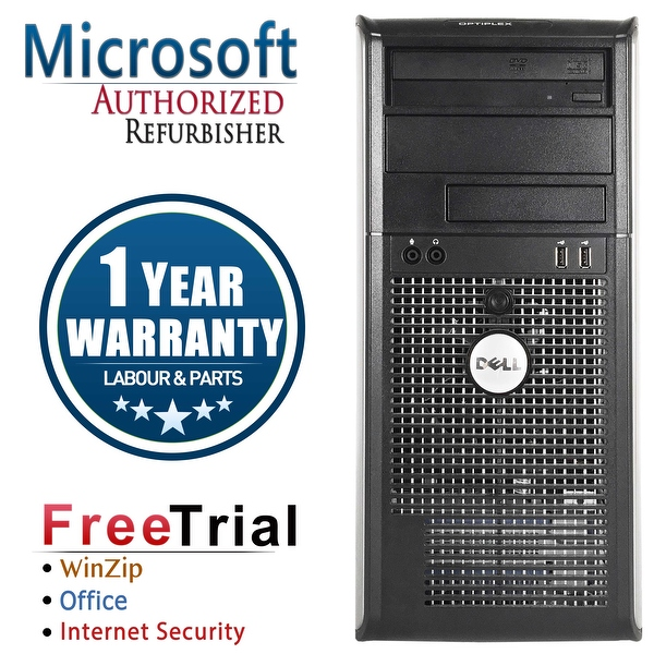 Refurbished Dell OptiPlex 760 Tower Intel Core 2 Duo E7600 3.0G 4G DDR2 320G DVD Win 10 Home 1 Year Warranty - Silver