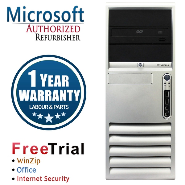 Refurbished HP Compaq DC7700 Tower Core 2 Duo E6300 1.86G 2G DDR2 80G DVD WIN7 Home Premium64 1 Year Warranty - Silver