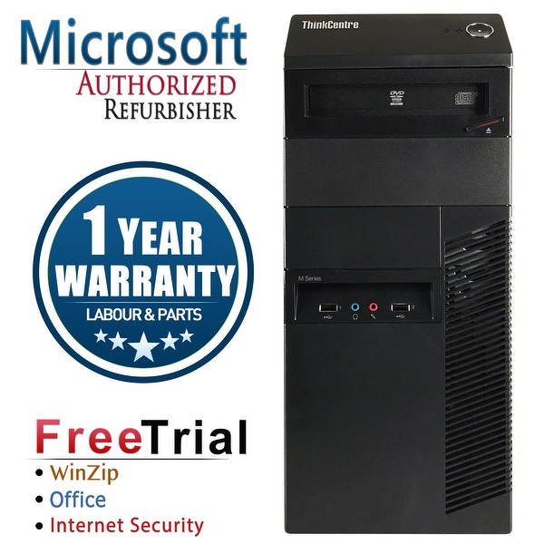 Refurbished Lenovo ThinkCentre M91P Tower Intel Core I5 2400 3.1G 16G DDR3 1TB DVD Win 7 Pro 1 Year Warranty - Black