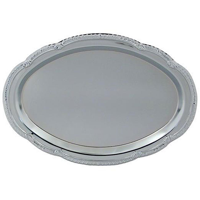 American Metalcraft 15 in x 10 in. Oval Chrome Tray