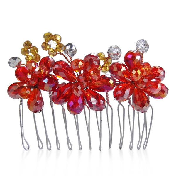 Handmade Regal Fire and Ice Floral Crystal Bridal Hair Comb (Thailand)