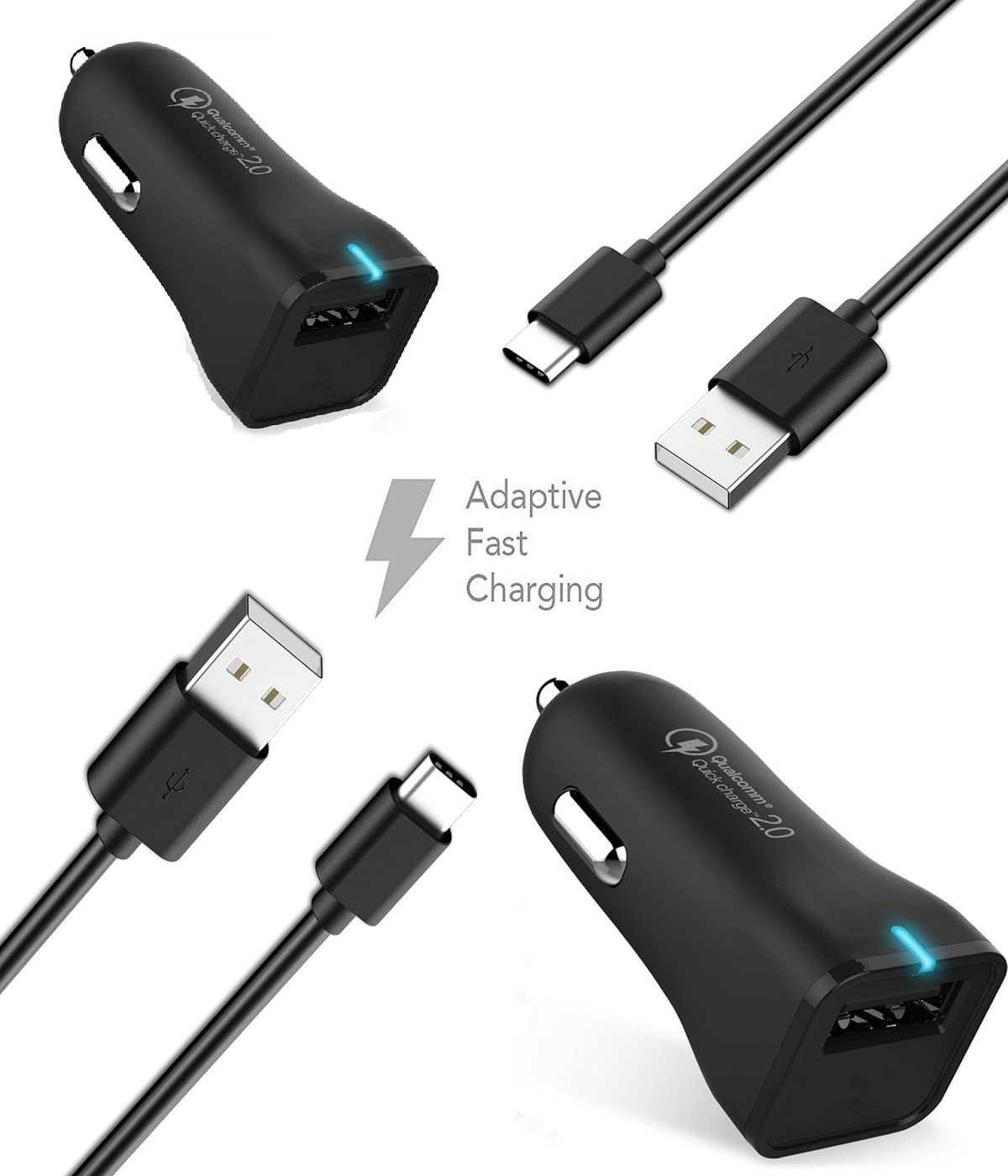 Samsung Galaxy S8 Charger! Adaptive Fast Charger Type-C Cable {2 Car Chargers + 2 Type-C Cables} True Digital Adaptive Fast Charging uses dual voltages for up to 50% faster charging!